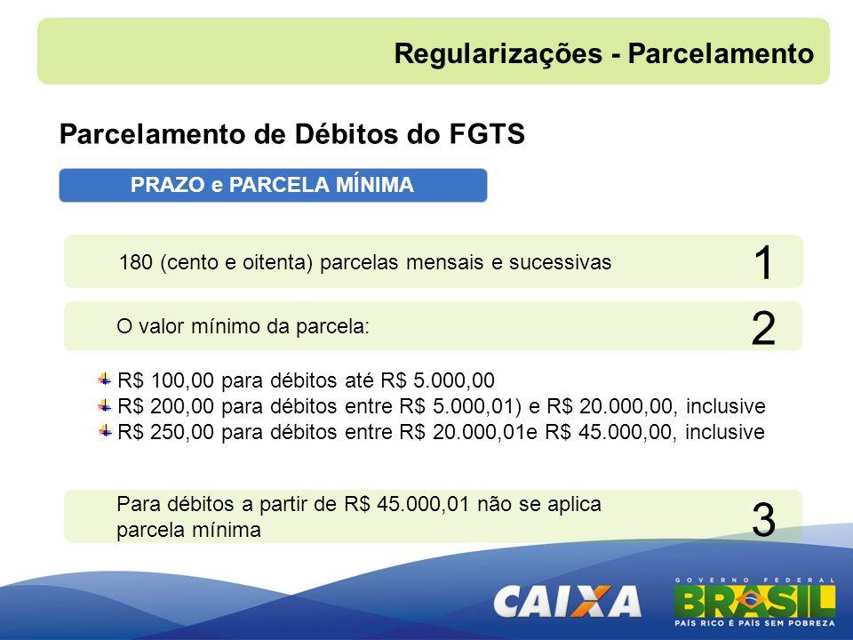 PRAZO e PARCELA MÍNIMA R$ 100,00 para débitos até R$ 5.000,00 R$ 200,00 para débitos entre R$ 5.000,01) e R$ 20.000,00, inclusive R$ 250,00 para débit