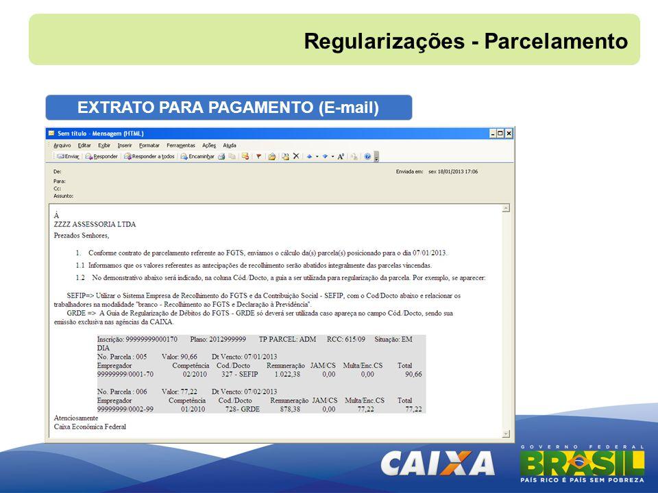 EXTRATO PARA PAGAMENTO (E-mail) Regularizações - Parcelamento