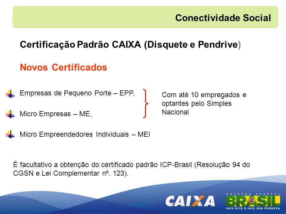 Certificação Padrão CAIXA (Disquete e Pendrive) Novos Certificados Conectividade Social Empresas de Pequeno Porte – EPP, Micro Empresas – ME, Micro Em