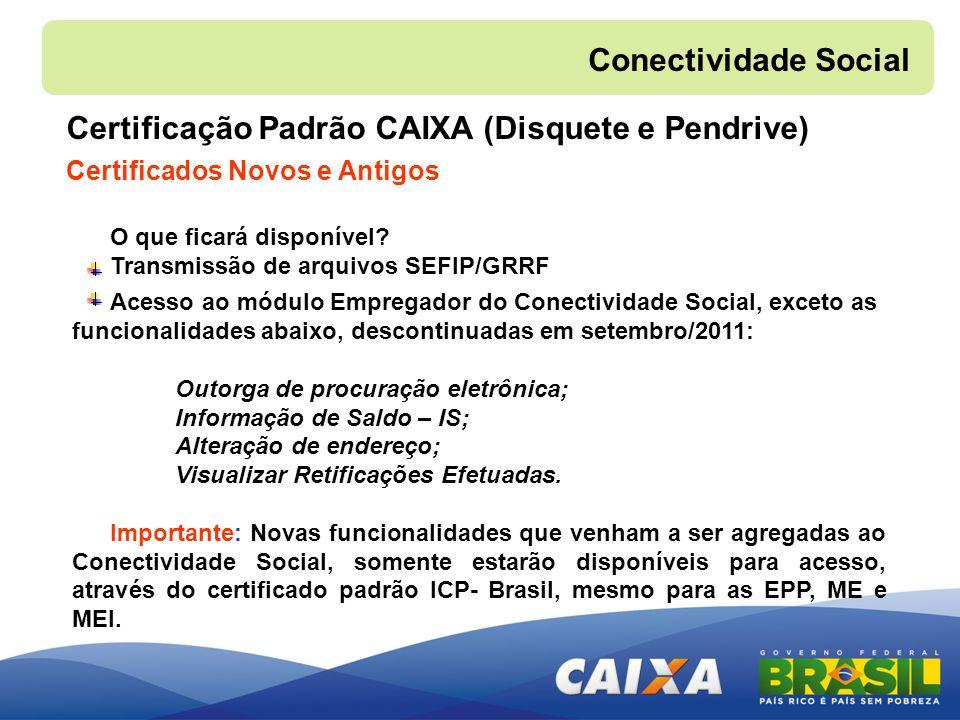Certificação Padrão CAIXA (Disquete e Pendrive) Certificados Novos e Antigos Conectividade Social O que ficará disponível? Transmissão de arquivos SEF