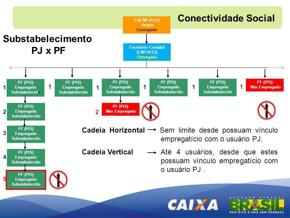 PJ(CNPJ/CEI) Amplo Outorgante Cadeia Horizontal Sem limite desde possuam vínculo empregatício com o usuário PJ. Cadeia Vertical Até 4 usuários, desde