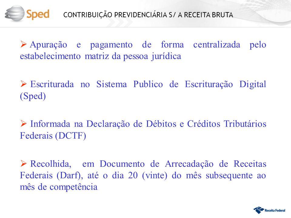 CONTRIBUIÇÃO PREVIDENCIÁRIA S/ A RECEITA BRUTA Apuração e pagamento de forma centralizada pelo estabelecimento matriz da pessoa jurídica Escriturada n