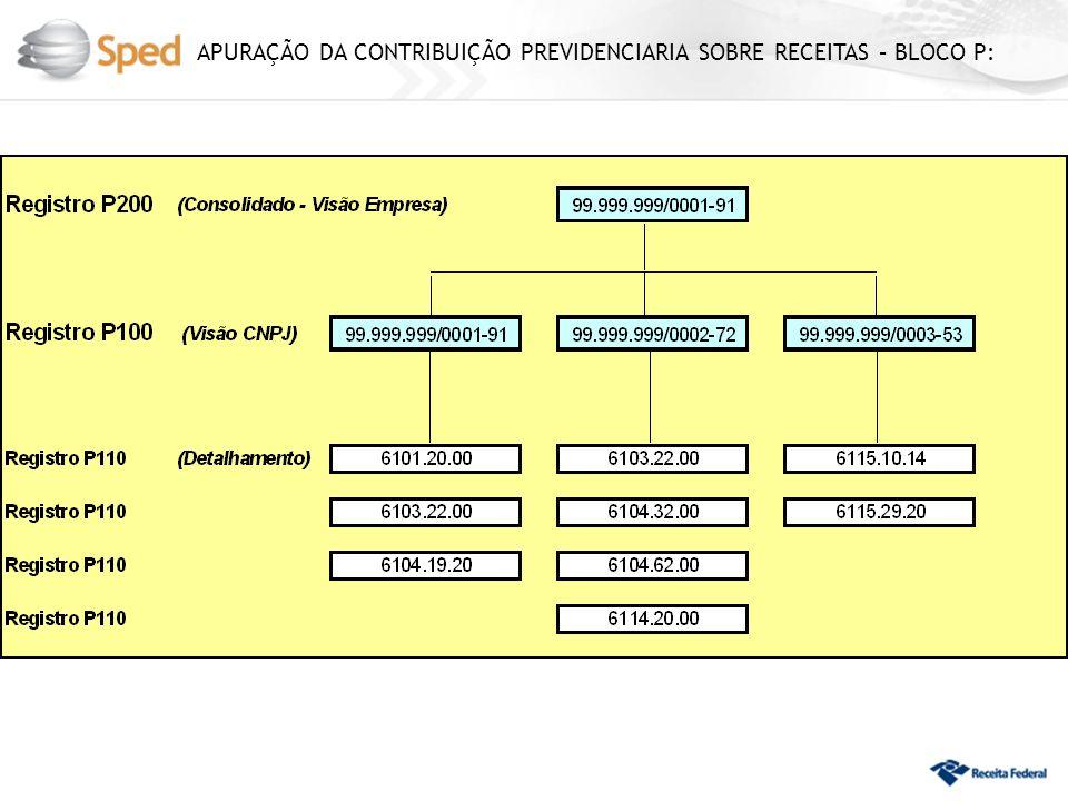 APURAÇÃO DA CONTRIBUIÇÃO PREVIDENCIARIA SOBRE RECEITAS – BLOCO P: