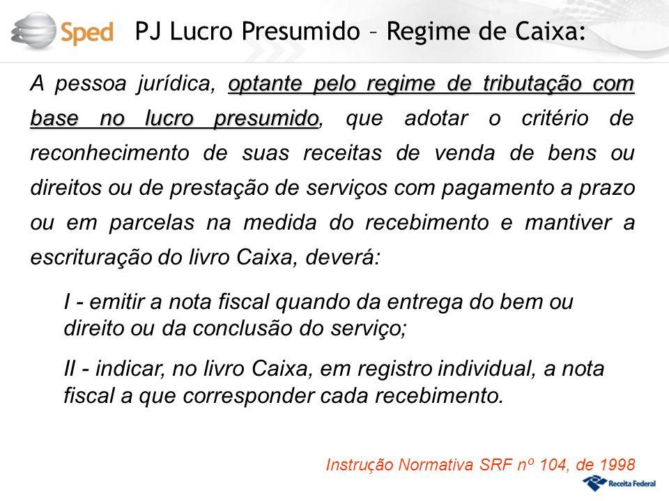 PJ Lucro Presumido – Regime de Caixa: optante pelo regime de tributação com base no lucro presumido A pessoa jurídica, optante pelo regime de tributaç