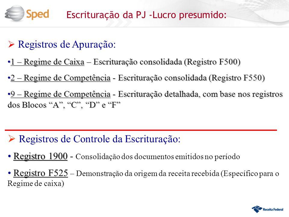 Escrituração da PJ -Lucro presumido: Registros de Apuração: 1 – Regime de Caixa – Escrituração consolidada (Registro F500)1 – Regime de Caixa – Escrit