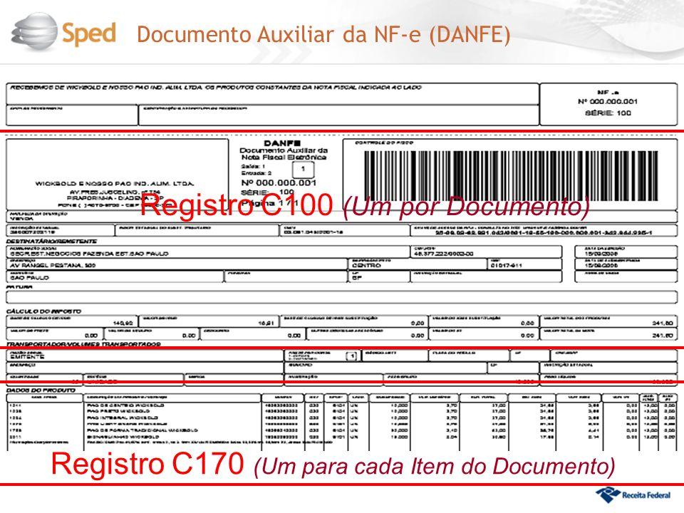 Documento Auxiliar da NF-e (DANFE) Registro C100 (Um por Documento) Registro C170 (Um para cada Item do Documento)