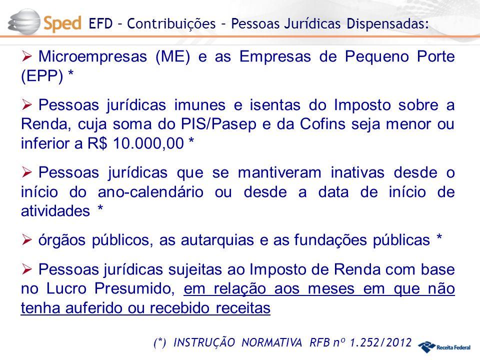 EFD – Contribuições – Pessoas Jurídicas Dispensadas: (*) INSTRUÇÃO NORMATIVA RFB nº 1.252/2012 Microempresas (ME) e as Empresas de Pequeno Porte (EPP) * Pessoas jurídicas imunes e isentas do Imposto sobre a Renda, cuja soma do PIS/Pasep e da Cofins seja menor ou inferior a R$ 10.000,00 * Pessoas jurídicas que se mantiveram inativas desde o início do ano-calendário ou desde a data de início de atividades * órgãos públicos, as autarquias e as fundações públicas * Pessoas jurídicas sujeitas ao Imposto de Renda com base no Lucro Presumido, em relação aos meses em que não tenha auferido ou recebido receitas
