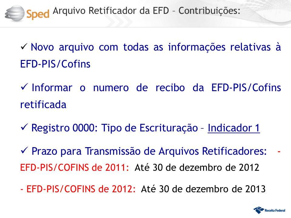 Arquivo Retificador da EFD – Contribuições: Novo arquivo com todas as informações relativas à EFD-PIS/Cofins Informar o numero de recibo da EFD-PIS/Cofins retificada Registro 0000: Tipo de Escrituração – Indicador 1 Prazo para Transmissão de Arquivos Retificadores: - EFD-PIS/COFINS de 2011: Até 30 de dezembro de 2012 - EFD-PIS/COFINS de 2012: Até 30 de dezembro de 2013