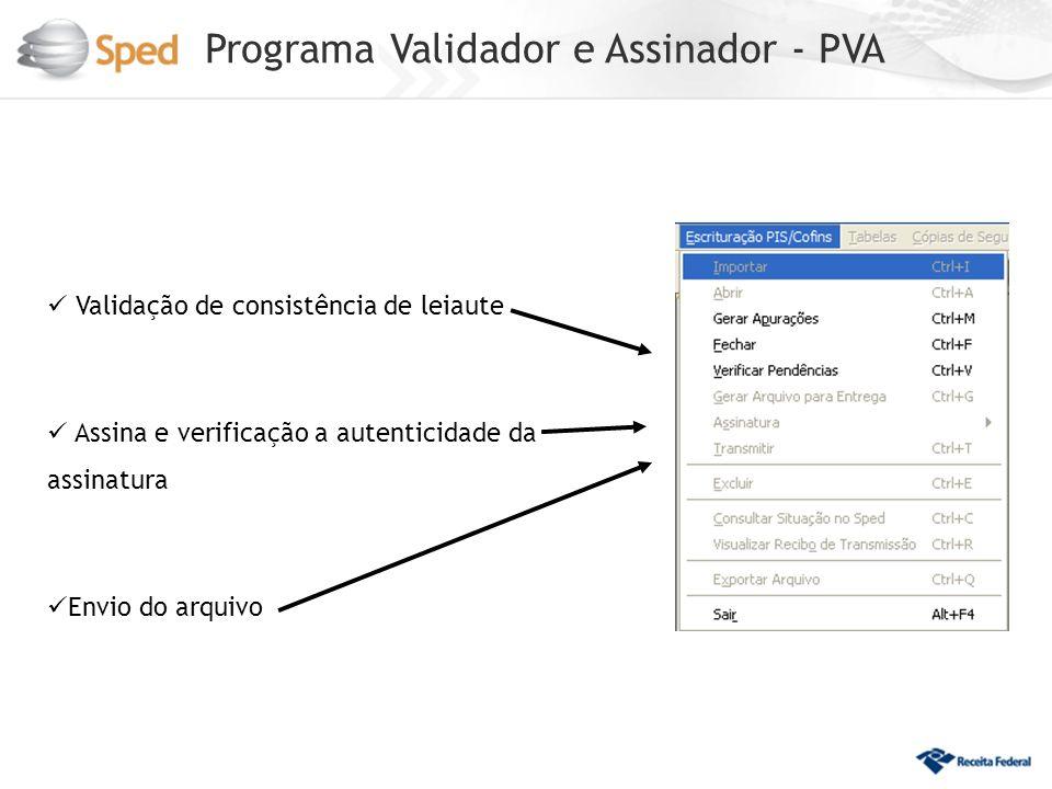 Programa Validador e Assinador - PVA Validação de consistência de leiaute Assina e verificação a autenticidade da assinatura Envio do arquivo