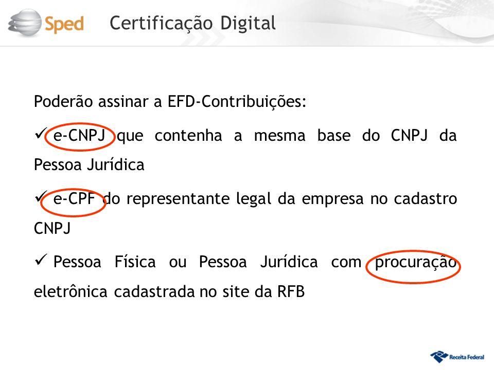 Certificação Digital Poderão assinar a EFD-Contribuições: e-CNPJ que contenha a mesma base do CNPJ da Pessoa Jurídica e-CPF do representante legal da empresa no cadastro CNPJ Pessoa Física ou Pessoa Jurídica com procuração eletrônica cadastrada no site da RFB