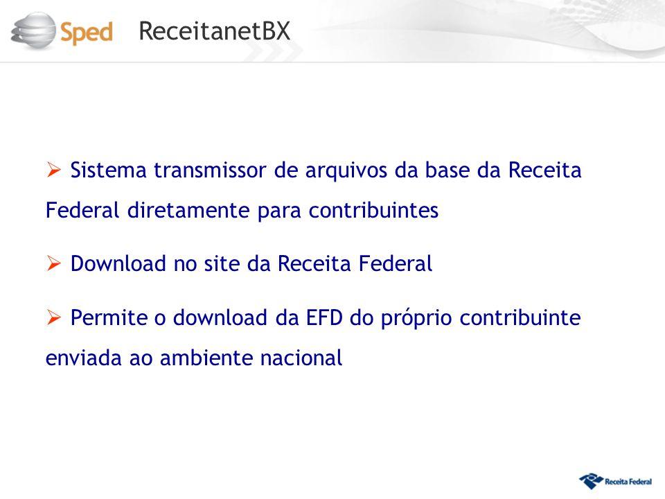 ReceitanetBX Sistema transmissor de arquivos da base da Receita Federal diretamente para contribuintes Download no site da Receita Federal Permite o download da EFD do próprio contribuinte enviada ao ambiente nacional