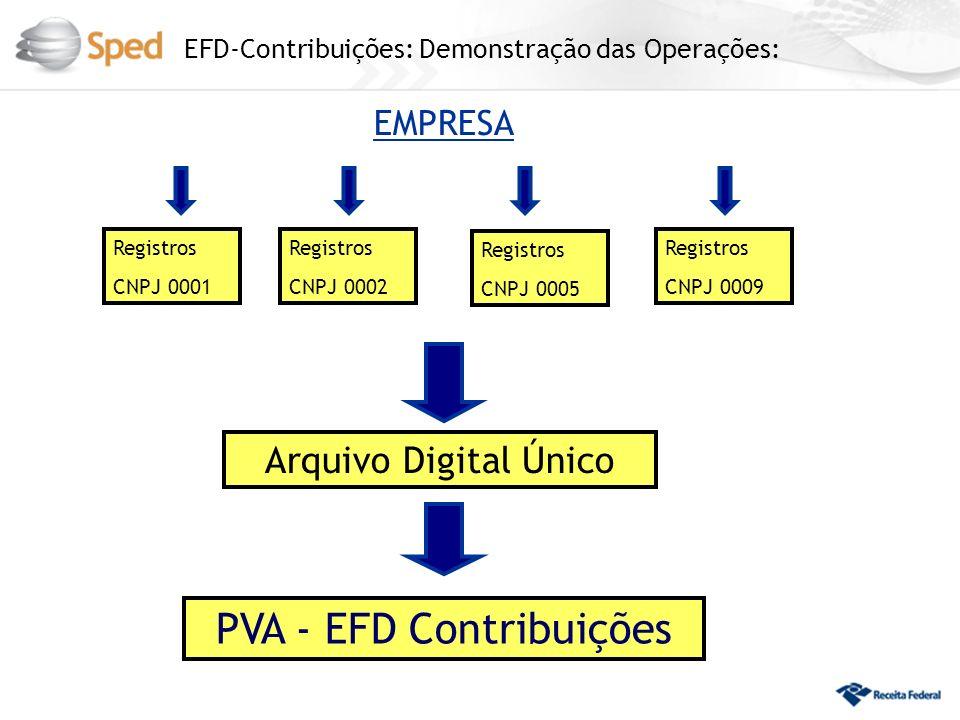 EFD-Contribuições: Demonstração das Operações: EMPRESA PVA - EFD Contribuições Registros CNPJ 0002 Registros CNPJ 0002 Registros CNPJ 0001 Registros C