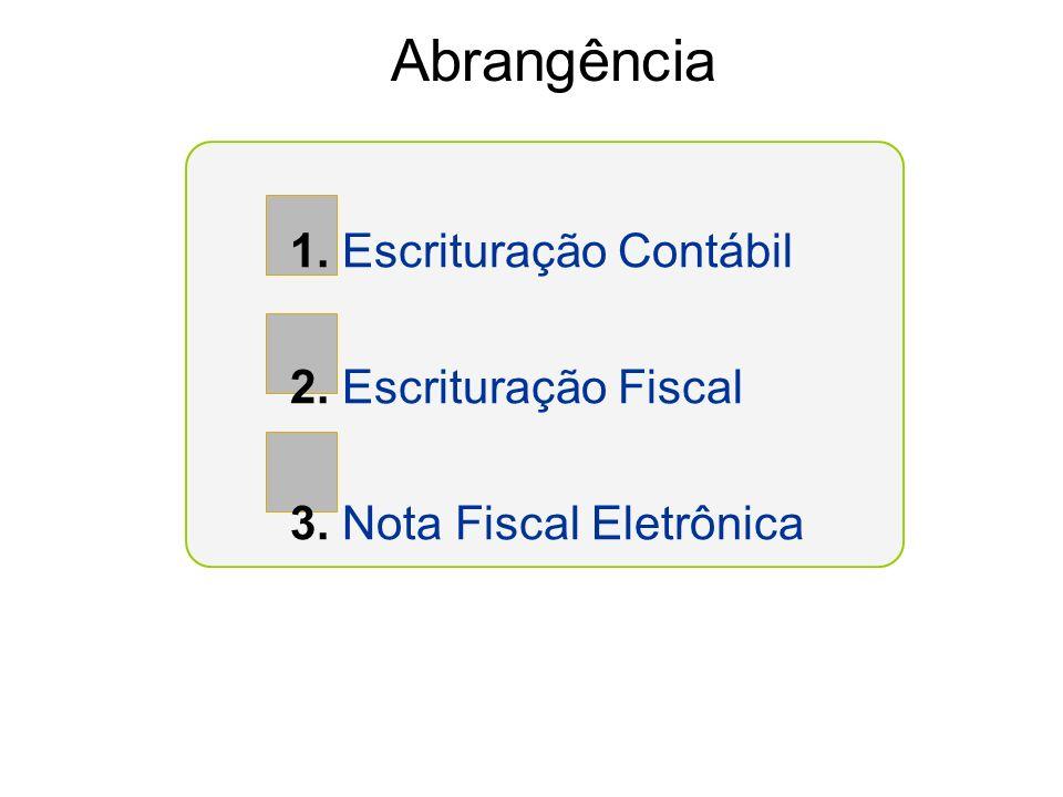 Abrangência 1. Escrituração Contábil 2. Escrituração Fiscal 3. Nota Fiscal Eletrônica