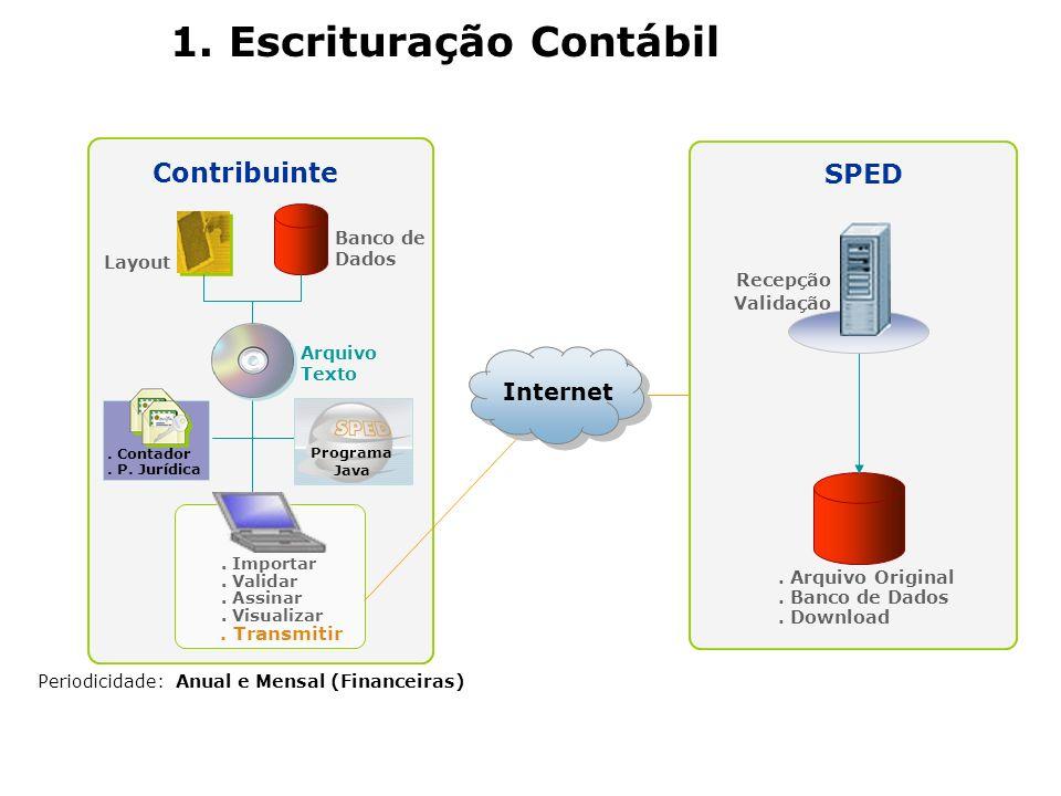 Periodicidade: Anual e Mensal (Financeiras) Arquivo Texto Contribuinte Layout Banco de Dados Programa Java 1. Escrituração Contábil. Contador. P. Jurí