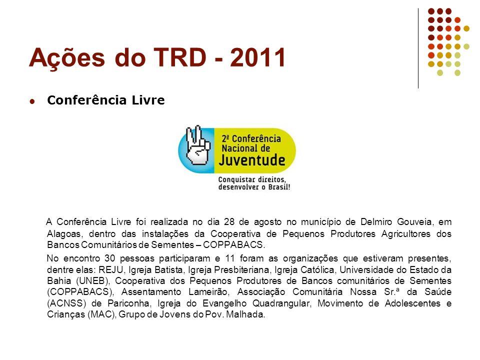 Ações do TRD - 2011 Conferência Livre A Conferência Livre foi realizada no dia 28 de agosto no município de Delmiro Gouveia, em Alagoas, dentro das in