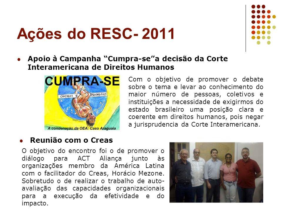 Ações do RESC- 2011 Apoio à Campanha Cumpra-sea decisão da Corte Interamericana de Direitos Humanos Com o objetivo de promover o debate sobre o tema e