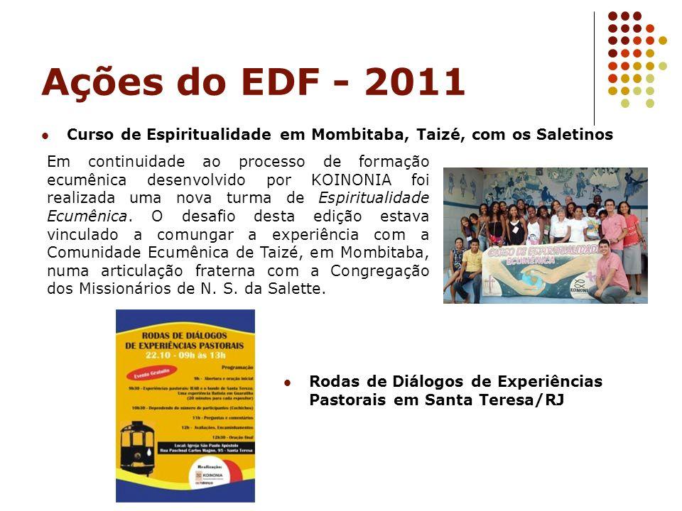 Ações do EDF - 2011 Curso de Espiritualidade em Mombitaba, Taizé, com os Saletinos Em continuidade ao processo de formação ecumênica desenvolvido por
