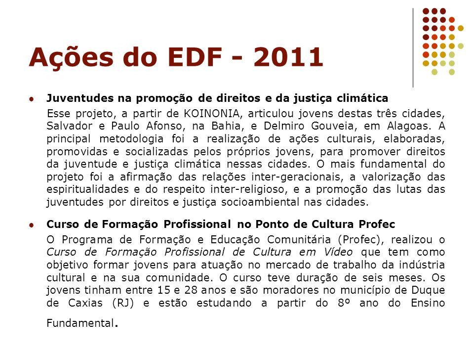 Ações do EDF - 2011 Juventudes na promoção de direitos e da justiça climática Esse projeto, a partir de KOINONIA, articulou jovens destas três cidades