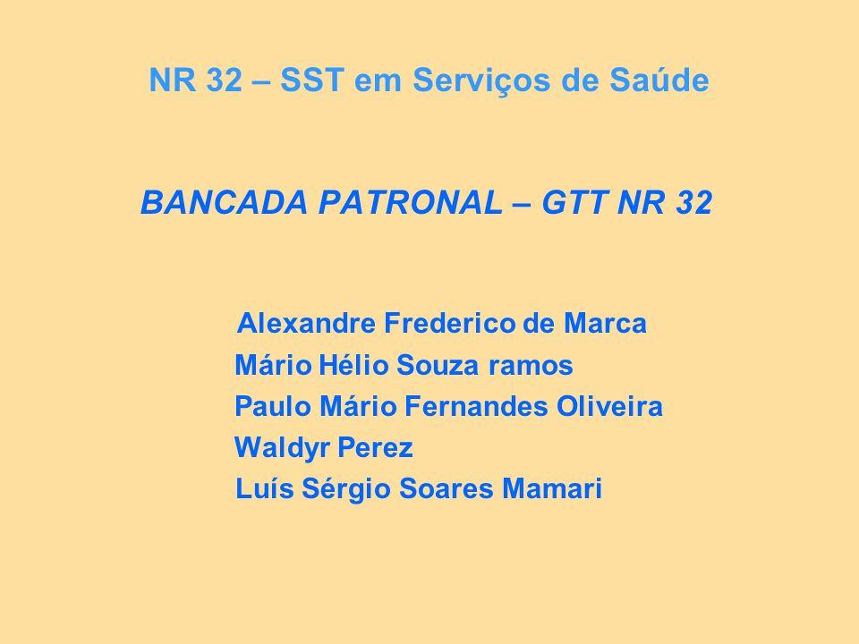 NR 32 – SST em Serviços de Saúde BANCADA PATRONAL – GTT NR 32 Alexandre Frederico de Marca Mário Hélio Souza ramos Paulo Mário Fernandes Oliveira Wald