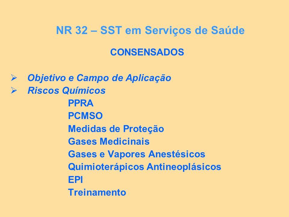 CONSENSADOS Resíduos Lavanderias Limpeza e Conservação Conforto nas Refeições NR 32 – SST em Serviços de Saúde