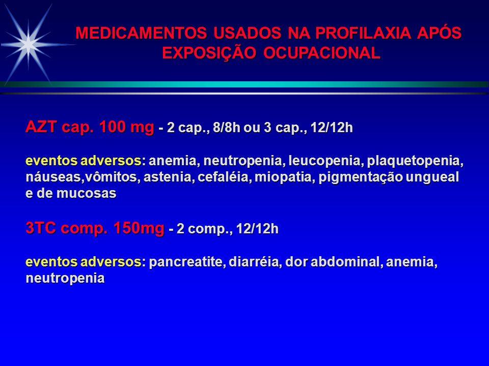 QUIMIOPROFILAXIA BÁSICA = AZT + 3TC QUIMIOPROFILAXIA BÁSICA = AZT + 3TC Indicada em exposições com risco conhecido de transmissão QUIMIOPROFILAXIA EXP