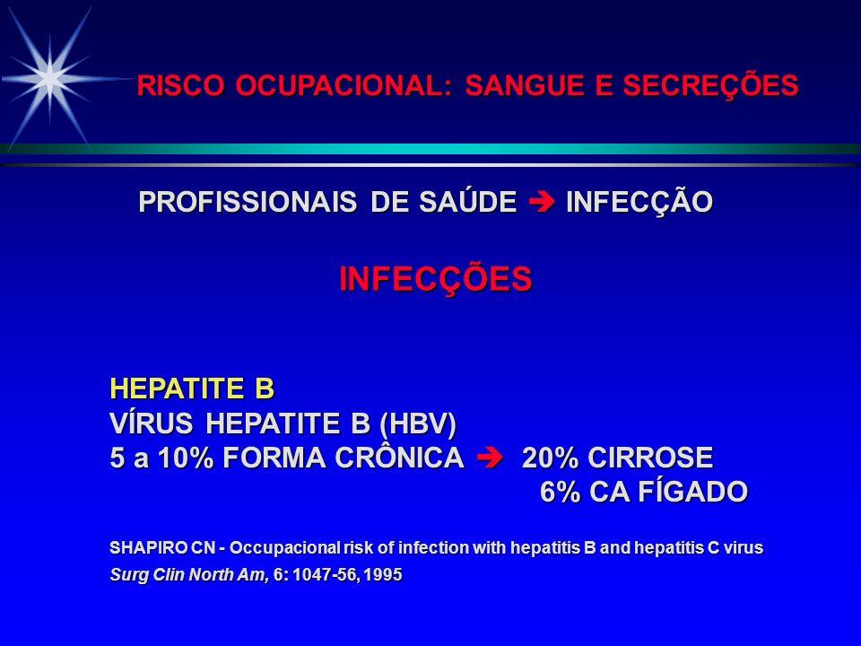 RISCO OCUPACIONAL: SANGUE E SECREÇÕES ALEX M. DE BARROS NUNES (Disciplina de Infectologia Pediátrica da UNIFESP/EPM) MAGALY CECÍLIA F. REICHERT (Profa
