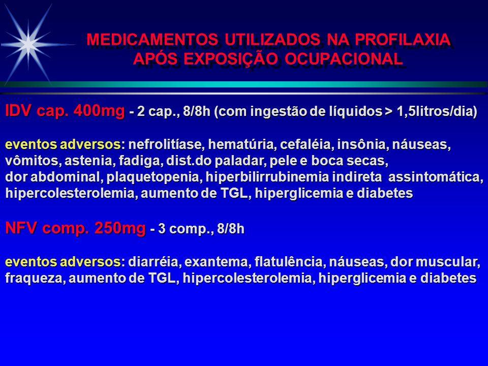 MEDICAMENTOS USADOS NA PROFILAXIA APÓS EXPOSIÇÃO OCUPACIONAL AZT cap. 100 mg - 2 cap., 8/8h ou 3 cap., 12/12h eventos adversos: anemia, neutropenia, l