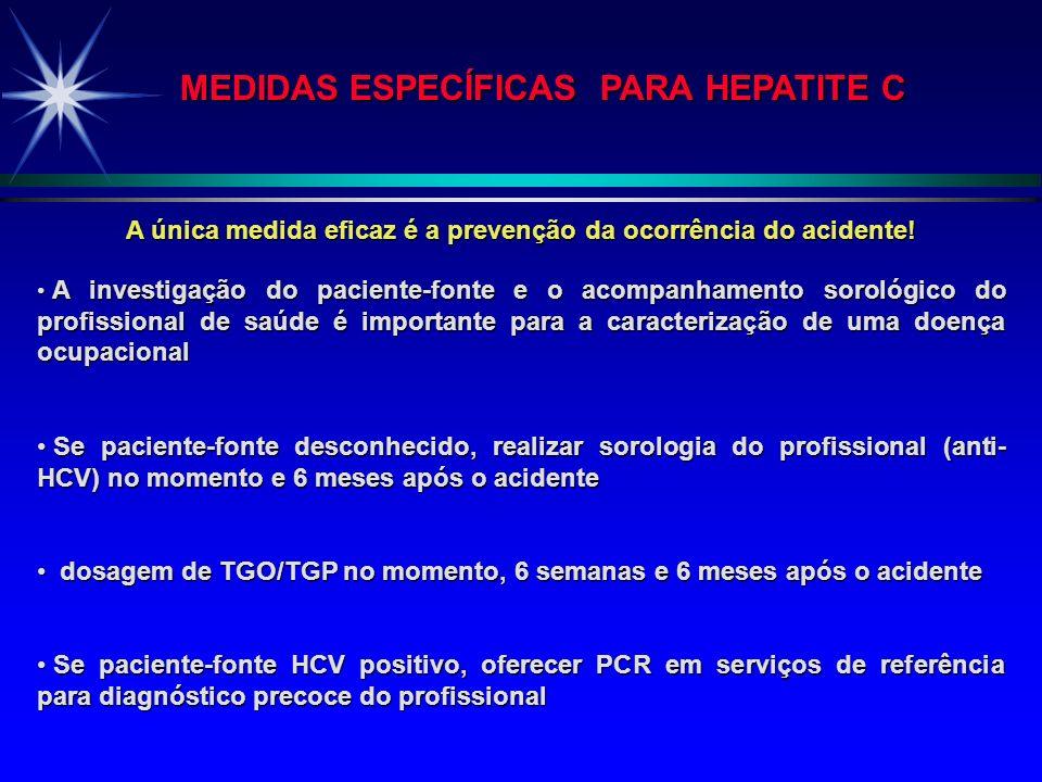 MEDIDAS ESPECÍFICAS DE QUIMIOPROFILAXIA PARA HEPATITE B Vacina (preferencialmente como prevenção) Gamaglobulina Hiperimune (maior eficácia se recebida