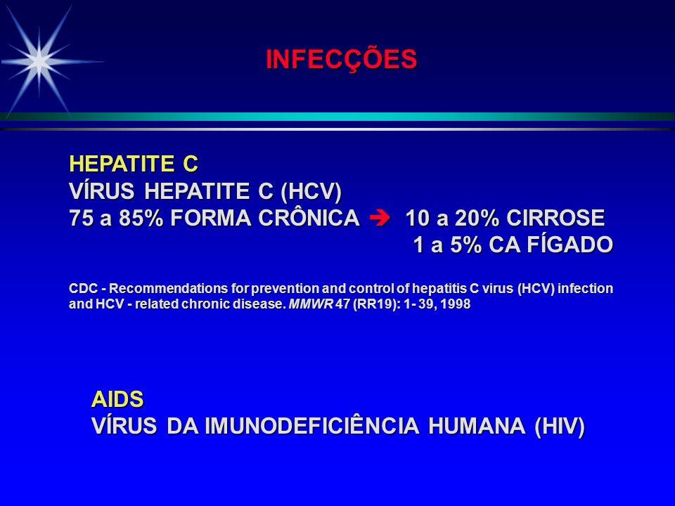 RISCO OCUPACIONAL: SANGUE E SECREÇÕES PROFISSIONAIS DE SAÚDE INFECÇÃO HEPATITE B VÍRUS HEPATITE B (HBV) 5 a 10% FORMA CRÔNICA 20% CIRROSE 6% CA FÍGADO