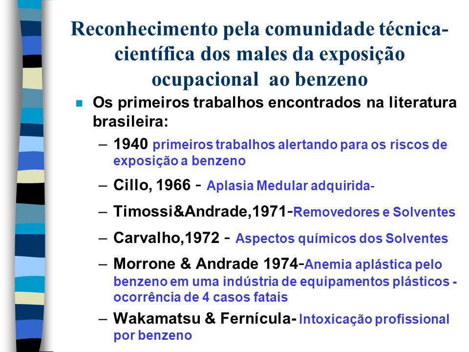EXPOSIÇÃO OCUPACIONAL A BENZENO EXPERIÊNCIA BRASILEIRA Luíza Maria Nunes Cardoso Pesquisadora da FUNDACENTRO-MTE