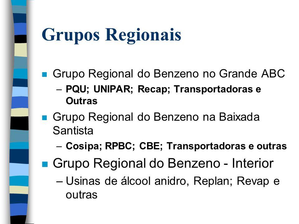 GRUPO TRIPARTITE ESTADUAL DO BENZENO n Reune os vários sindicatos e instituições públicas para discussão sobre a implementação do acordo do benzeno no