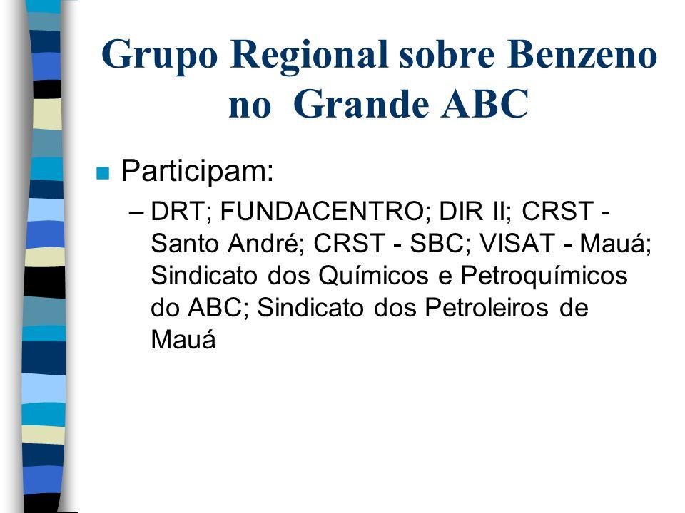 Grupos Regionais n Grupo Regional do Benzeno no Grande ABC –PQU; UNIPAR; Recap; Transportadoras e Outras n Grupo Regional do Benzeno na Baixada Santis