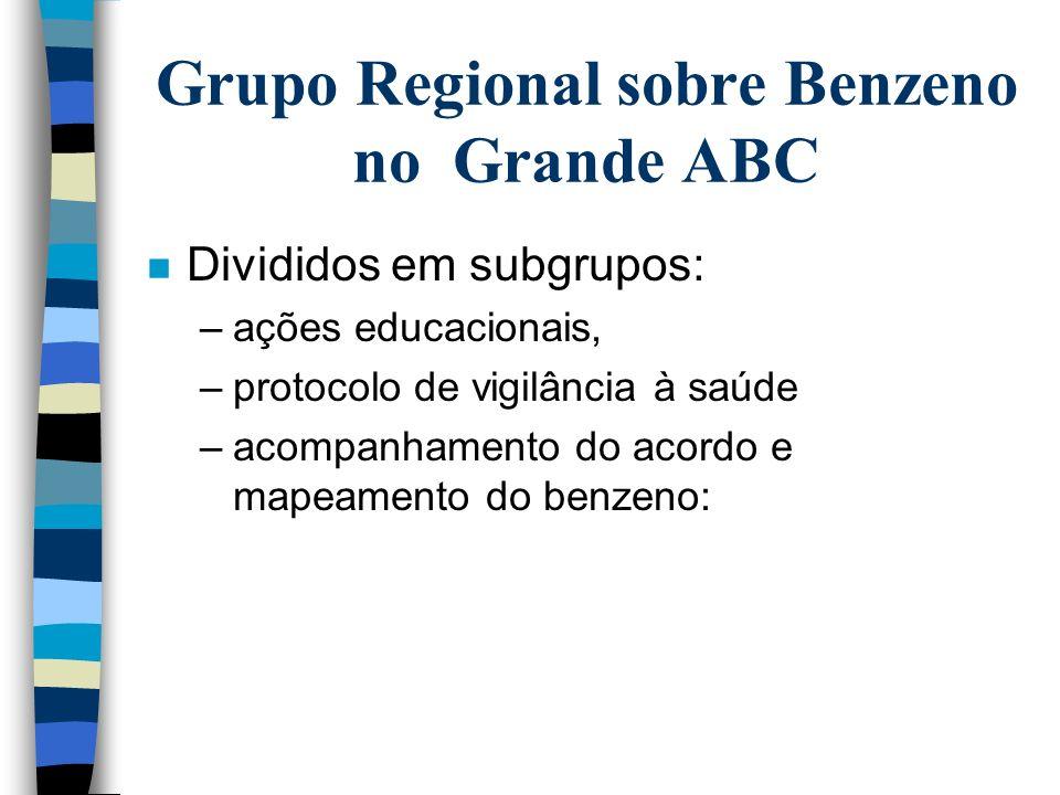 Grupo Regional sobre Benzeno no Grande ABC n Participam: –DRT; FUNDACENTRO; DIR II; CRST - Santo André; CRST - SBC; VISAT - Mauá; Sindicato dos Químic