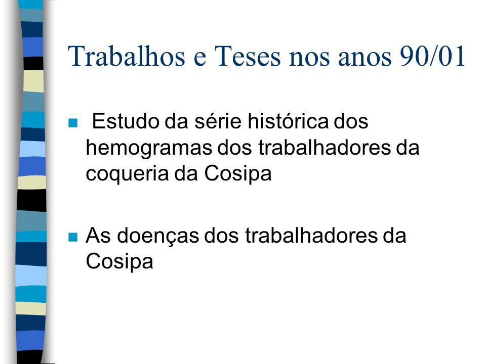 Trabalhos e Teses nos anos 90/01 n na Usp: metodologia analítica para análise de trans trans mucônico n na Fiocruz: análise de trans trans mucônico em