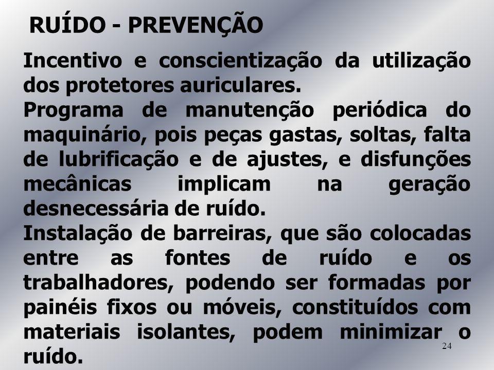 24 RUÍDO - PREVENÇÃO Incentivo e conscientização da utilização dos protetores auriculares. Programa de manutenção periódica do maquinário, pois peças