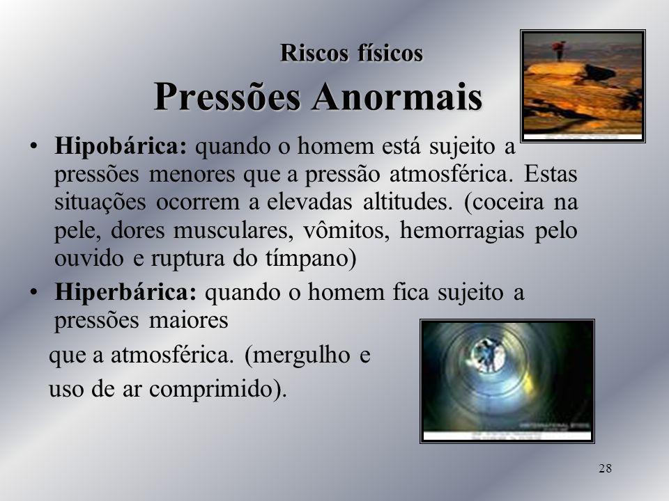 28 Riscos físicos Pressões Anormais Hipobárica: quando o homem está sujeito a pressões menores que a pressão atmosférica. Estas situações ocorrem a el
