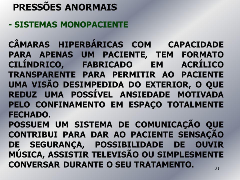 31 - SISTEMAS MONOPACIENTE CÂMARAS HIPERBÁRICAS COM CAPACIDADE PARA APENAS UM PACIENTE, TEM FORMATO CILÍNDRICO, FABRICADO EM ACRÍLICO TRANSPARENTE PAR