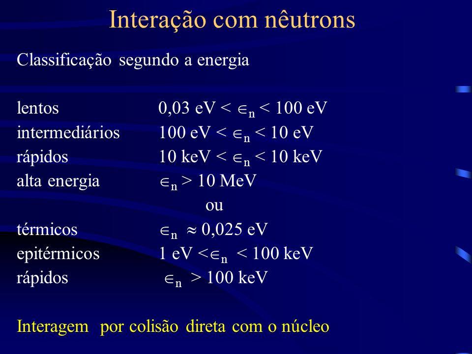 Interação com nêutrons Classificação segundo a energia lentos0,03 eV < n < 100 eV intermediários100 eV < n < 10 eV rápidos10 keV < n < 10 keV alta energia n > 10 MeV ou térmicos n 0,025 eV epitérmicos1 eV < n < 100 keV rápidos n > 100 keV Interagem por colisão direta com o núcleo