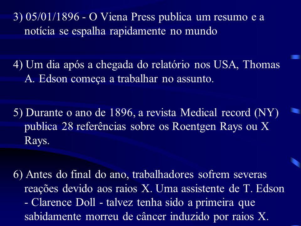 3) 05/01/1896 - O Viena Press publica um resumo e a notícia se espalha rapidamente no mundo 4) Um dia após a chegada do relatório nos USA, Thomas A.