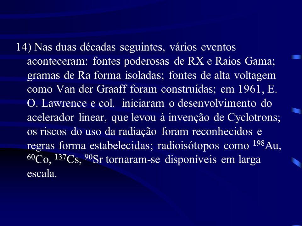 14) Nas duas décadas seguintes, vários eventos aconteceram: fontes poderosas de RX e Raios Gama; gramas de Ra forma isoladas; fontes de alta voltagem como Van der Graaff foram construídas; em 1961, E.