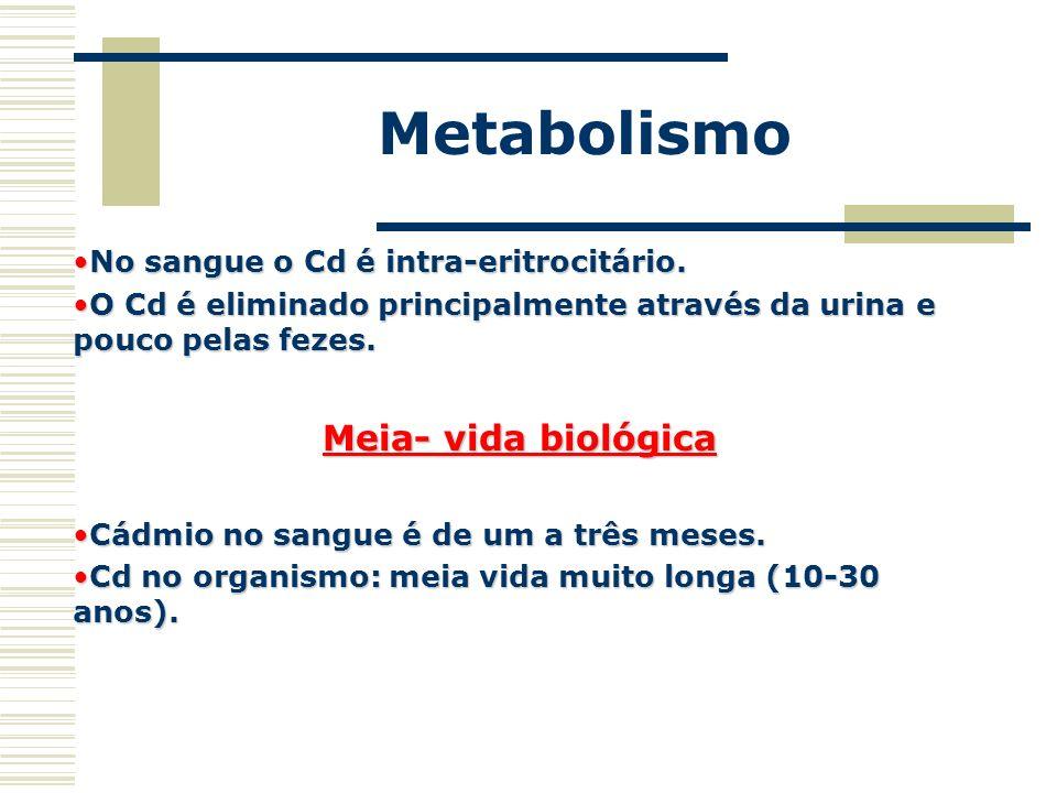 Metabolismo No sangue o Cd é intra-eritrocitário.No sangue o Cd é intra-eritrocitário. O Cd é eliminado principalmente através da urina e pouco pelas