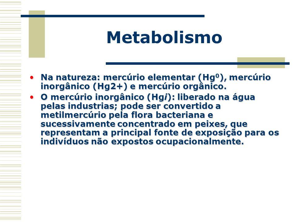 Metabolismo Na natureza: mercúrio elementar (Hg 0 ), mercúrio inorgânico (Hg2+) e mercúrio orgânico.Na natureza: mercúrio elementar (Hg 0 ), mercúrio