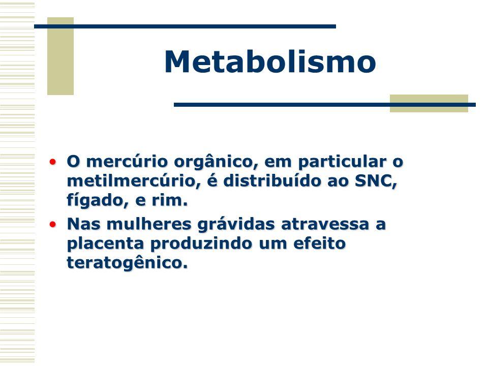 Metabolismo O mercúrio orgânico, em particular o metilmercúrio, é distribuído ao SNC, fígado, e rim.O mercúrio orgânico, em particular o metilmercúrio