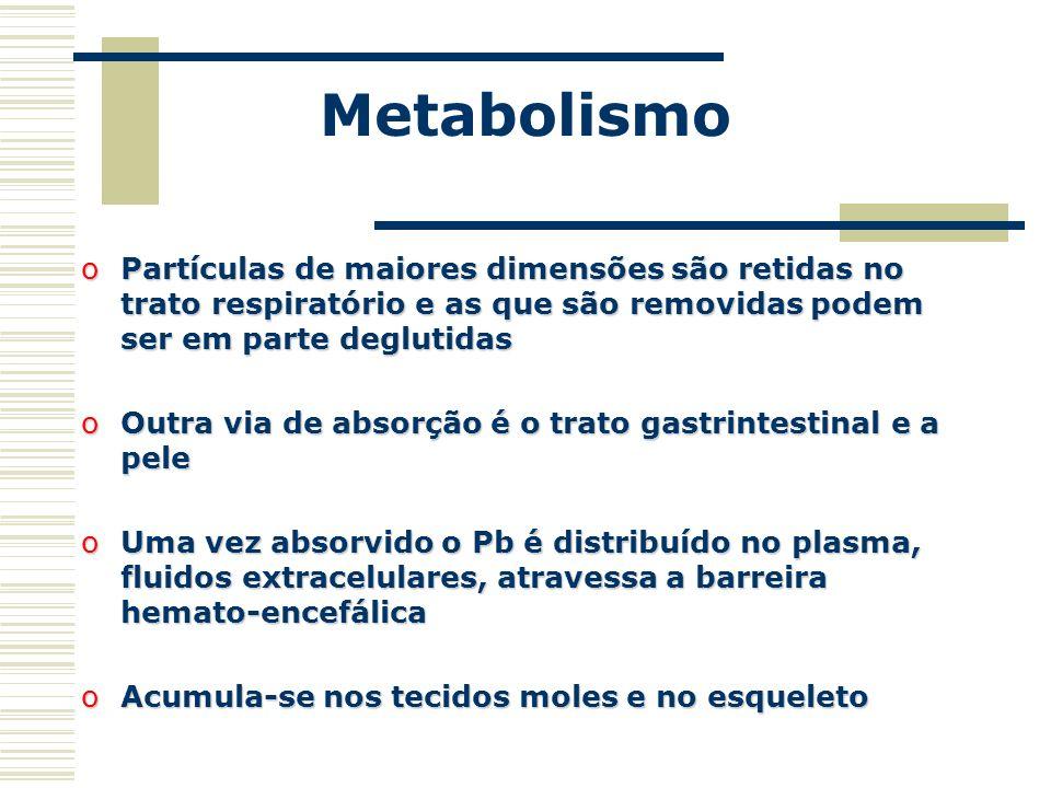 Metabolismo oPartículas de maiores dimensões são retidas no trato respiratório e as que são removidas podem ser em parte deglutidas oOutra via de abso