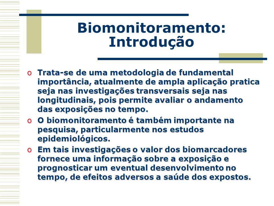 Biomonitoramento: Introdução oTrata-se de uma metodologia de fundamental importância, atualmente de ampla aplicação pratica seja nas investigações tra