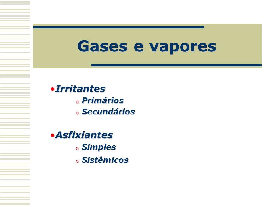 Gases e vapores IrritantesIrritantes o Primários o Secundários AsfixiantesAsfixiantes o Simples o Sistêmicos