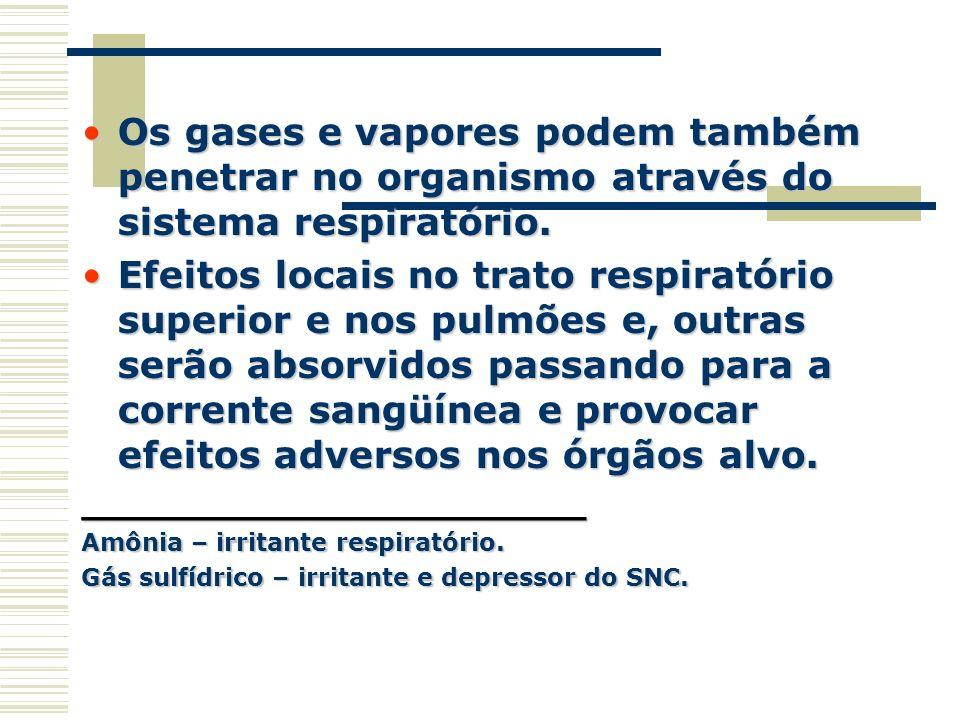 Os gases e vapores podem também penetrar no organismo através do sistema respiratório.Os gases e vapores podem também penetrar no organismo através do
