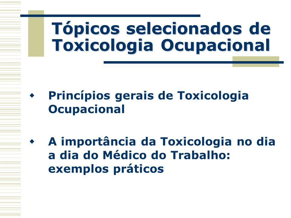 Tópicos selecionados de Toxicologia Ocupacional Princípios gerais de Toxicologia Ocupacional A importância da Toxicologia no dia a dia do Médico do Tr