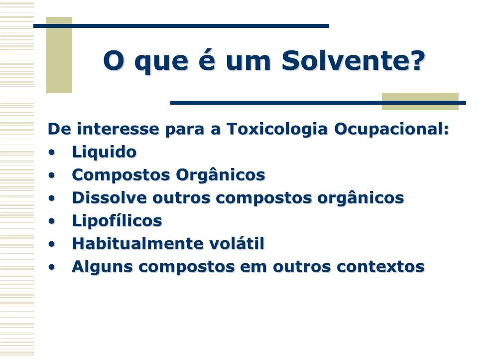 O que é um Solvente? De interesse para a Toxicologia Ocupacional: LiquidoLiquido Compostos OrgânicosCompostos Orgânicos Dissolve outros compostos orgâ