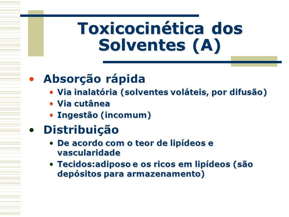 Toxicocinética dos Solventes (A) Absorção rápida Via inalatória (solventes voláteis, por difusão)Via inalatória (solventes voláteis, por difusão) Via